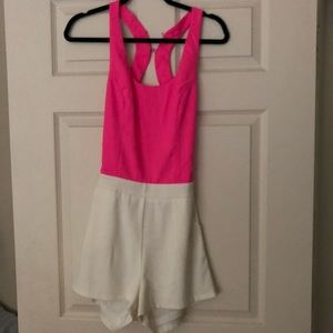 Tea & Cup Bright Pink and White Backless Romper